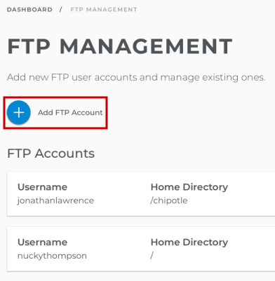 Update existing FTP user accounts or Add FTP Account