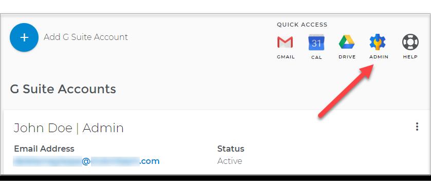G Suite page, Admin login