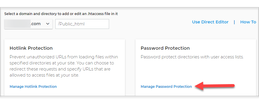 Manage Password Protection