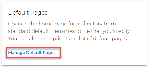 Default Pages