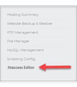 left sidebar, .htaccess Editor