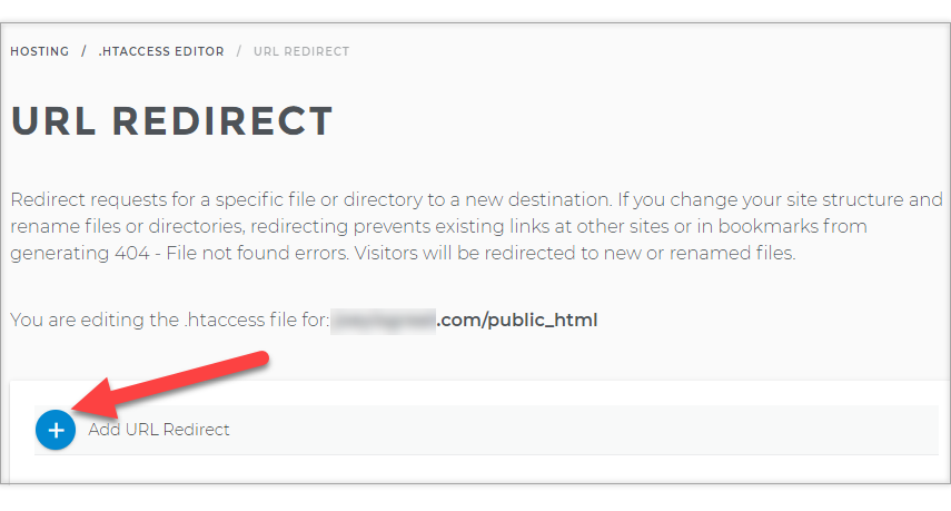 plus sign to Manage url redirect