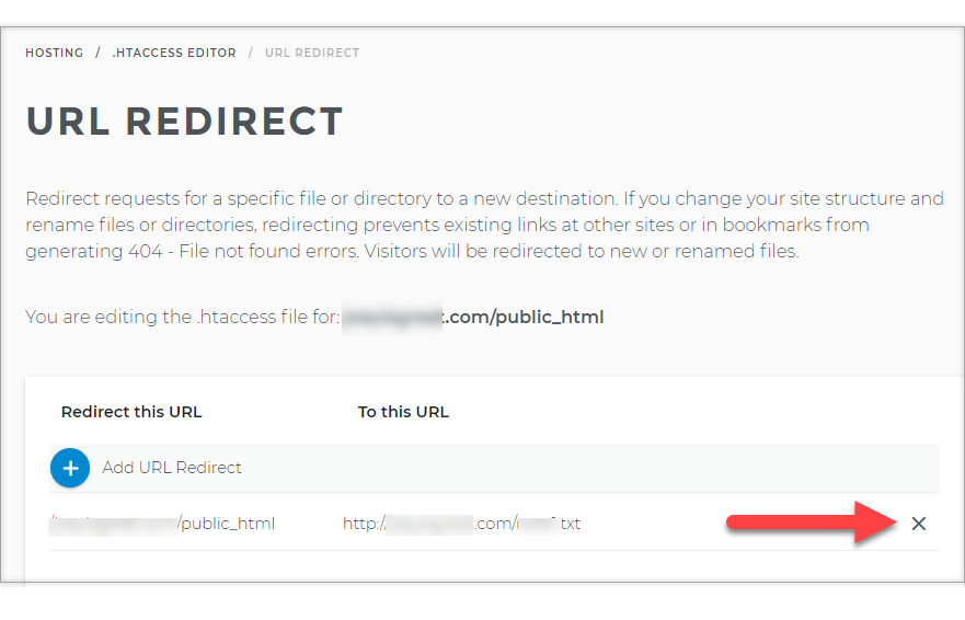 Deleting a redirect entry