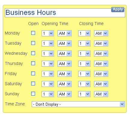 Add your business hours