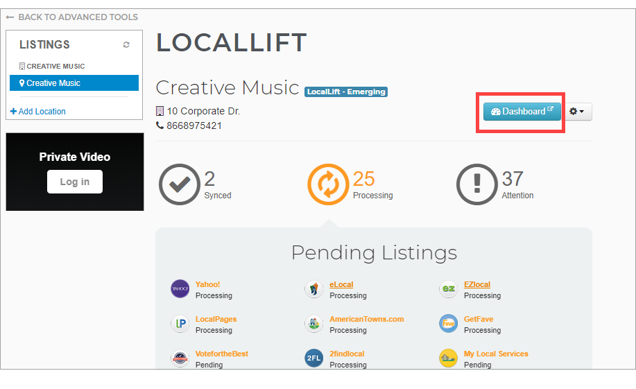 LocalLift Dashboard