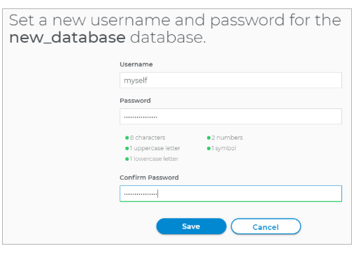 set database username and password