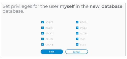 configure the database privileges
