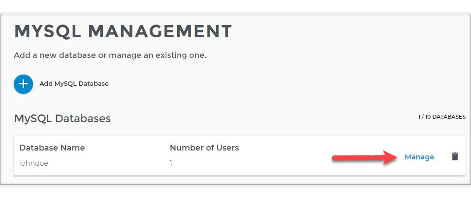 Database manage link