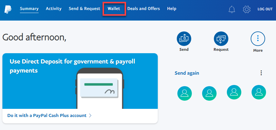 Log in and click on Wallet
