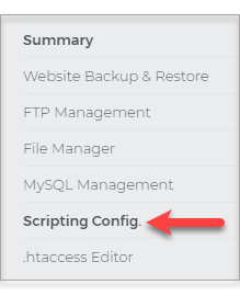 Click on Scripting Config