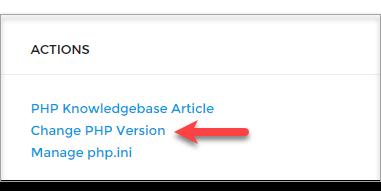 Choose Change PHP Version.