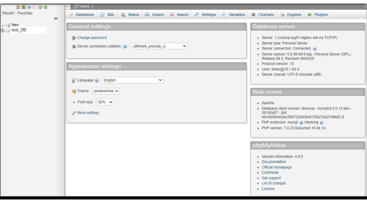 phpMyAdmin 4.8.5 interface