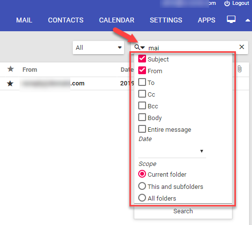 Mail search filters
