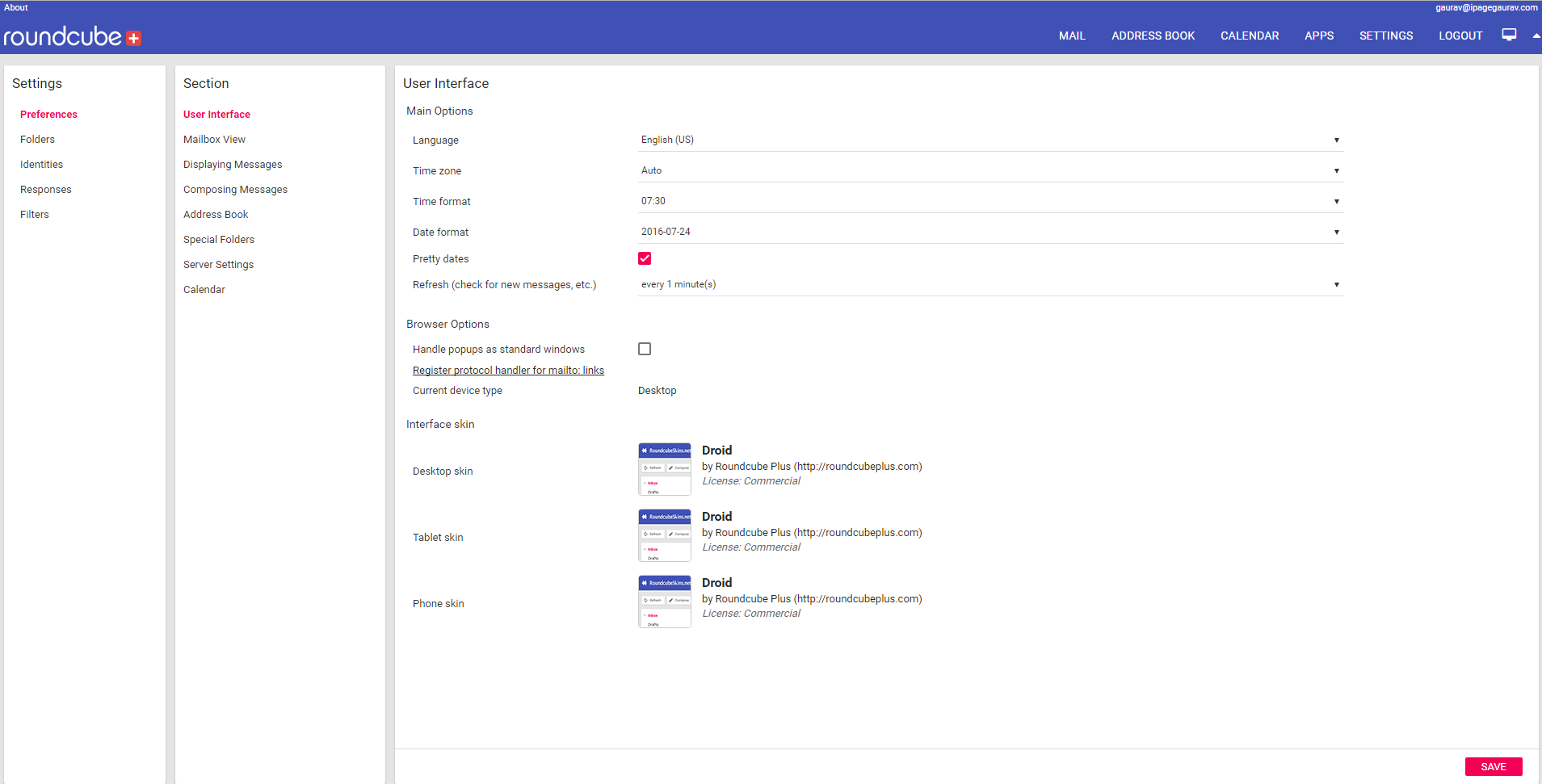 Navigate to Preferences-User Interface