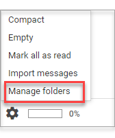 popup menu, Manage Folders