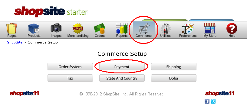 Select the Commerce icon, then Payment