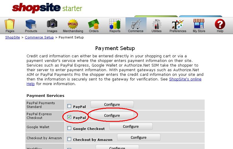 Payment Setup page