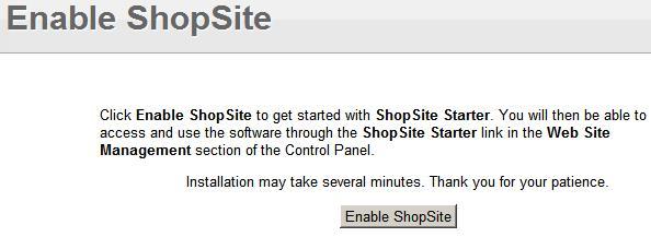 Click Enable ShopSite