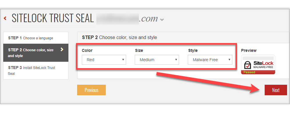 Select color, size and style