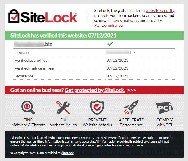 Trust Seal Site Details