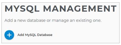 MySQL Management page