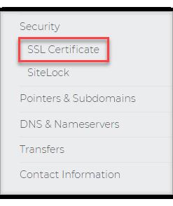 On the left pane click SSL Certificate