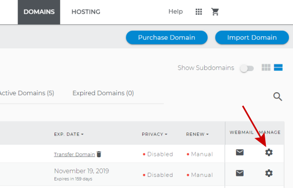 Manage domain to add SSL