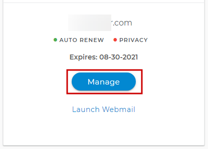 Select a domain to manage