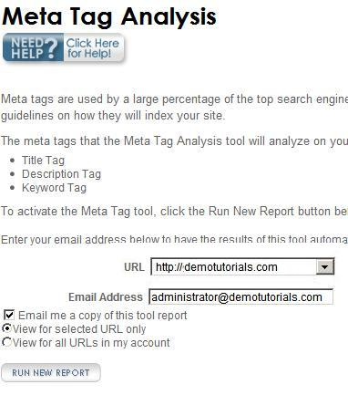 SubmitNet Meta Tag Analysis tool