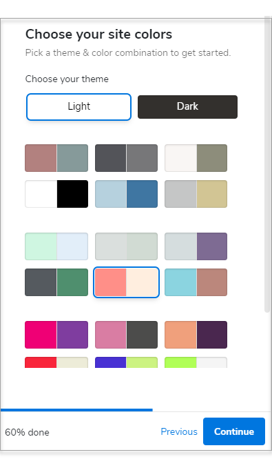 Pick a theme and color combination of your site