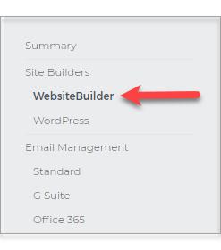 left sidebar, WebsiteBuilder