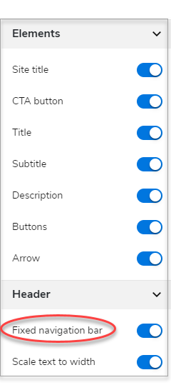 Fixed navigation bar link