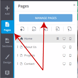 Click on Manage Pages