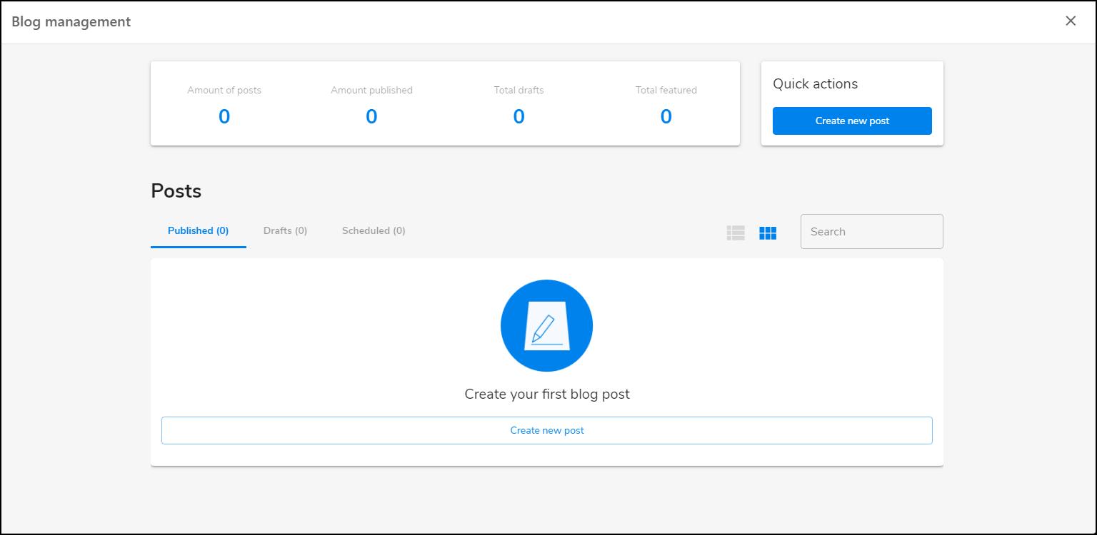 Blog Management screen