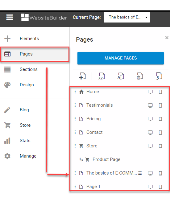 Locate the page to be deleted
