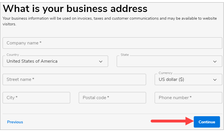 Enter yourBusiness Information