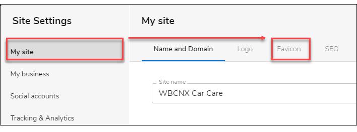 WebsiteBuilder Site Settings window