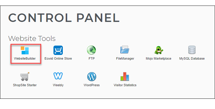 Control Panel - WebsiteBuilder