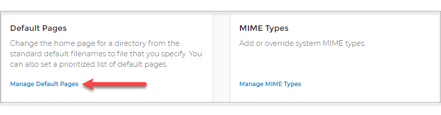 Manage Default Pages link