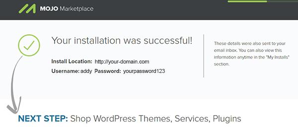 installation information and admin login credentials page