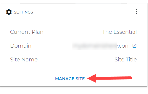 Manage Site inside WordPress Page
