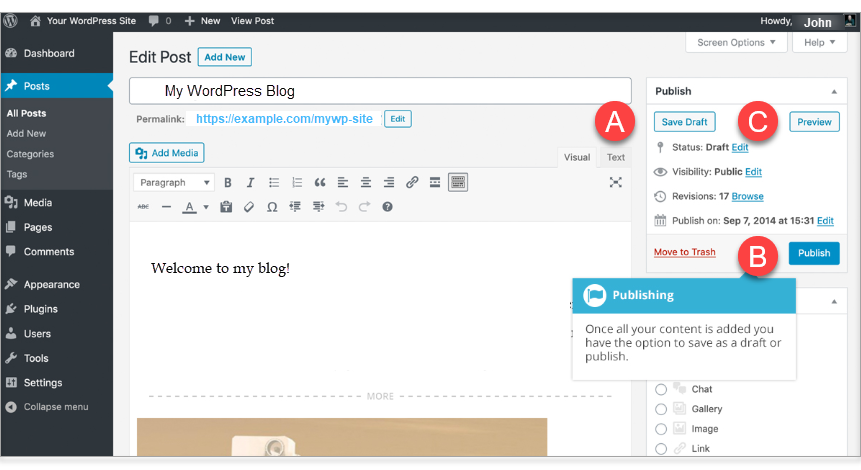 Save Draft, Publish and Preview buttons