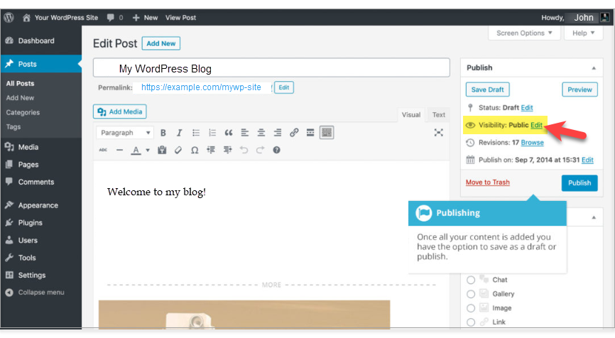 change your WordPress page's visibility