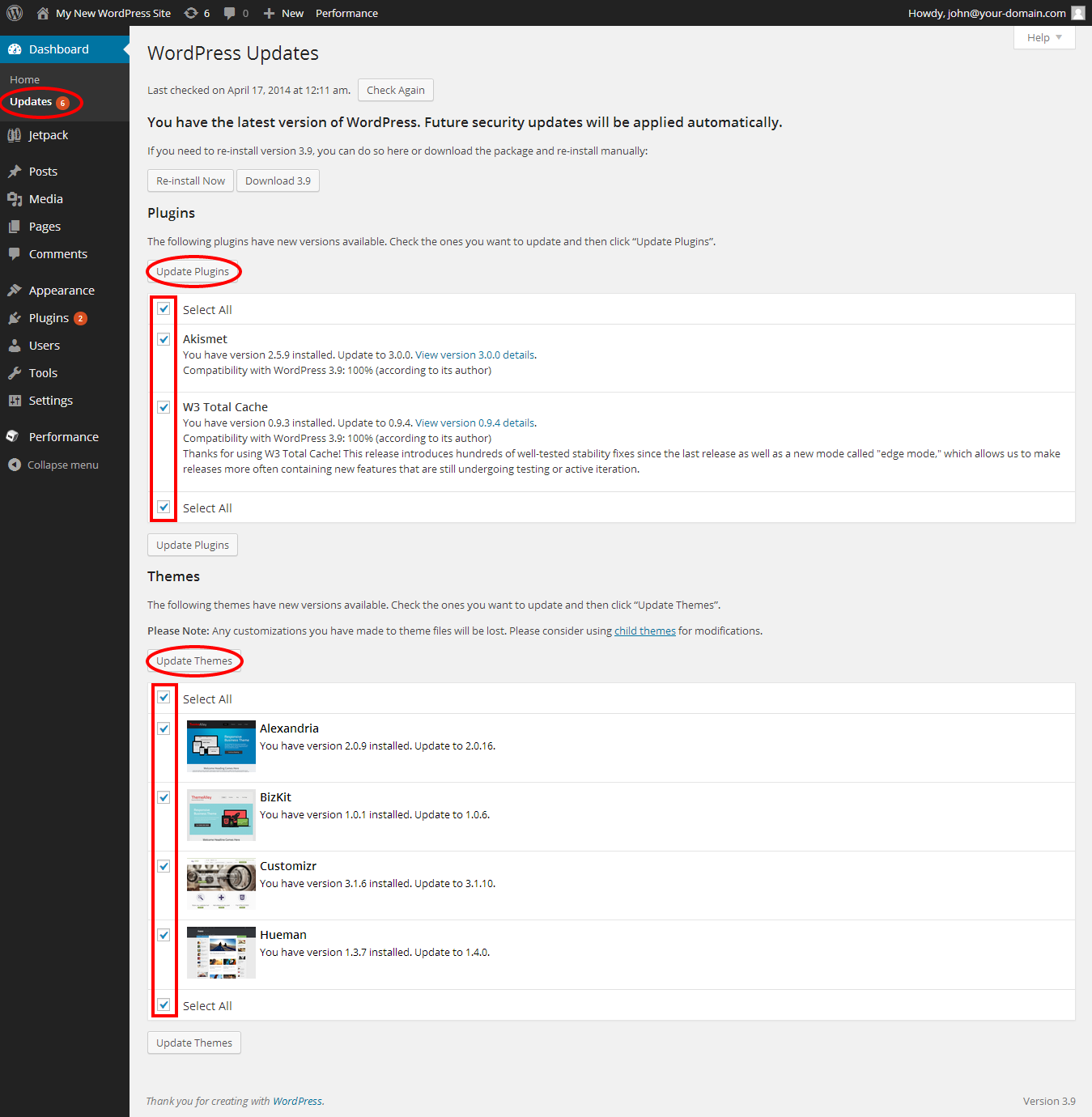 Update your WordPress theme