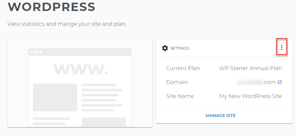 Settings in the WordPress Page