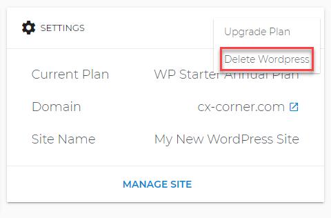 Delete WordPress