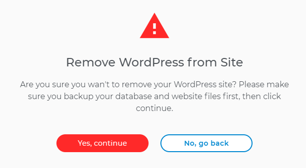 WordPress removal warning