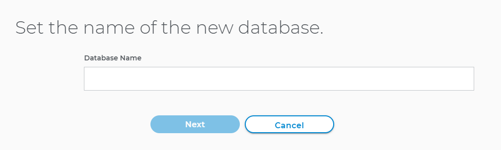 Set the name of new database