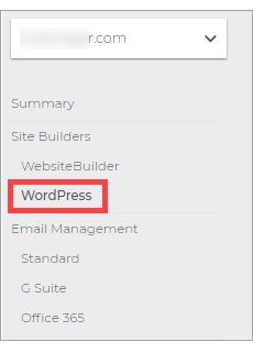 Click WordPress on the left pane