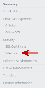 Select the SiteLock option